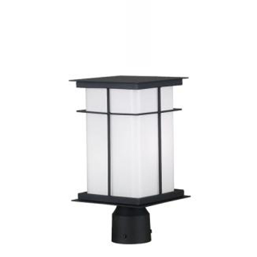 Mesa Single Light Medium Lamp Post  Black White Glass - 70003 TB