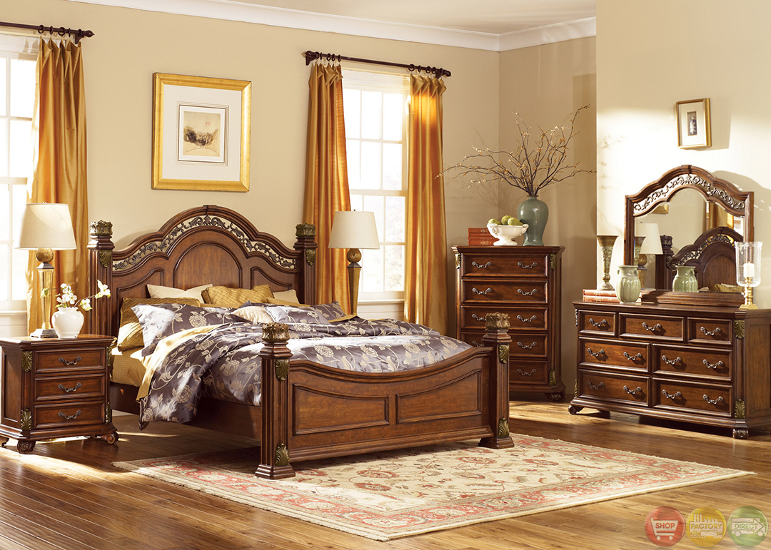Messina estates traditional european style poster bedroom set for Bed and bedroom sets