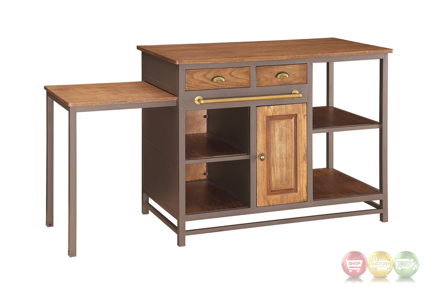 metal and wood 2 drawer kitchen island with pull out table
