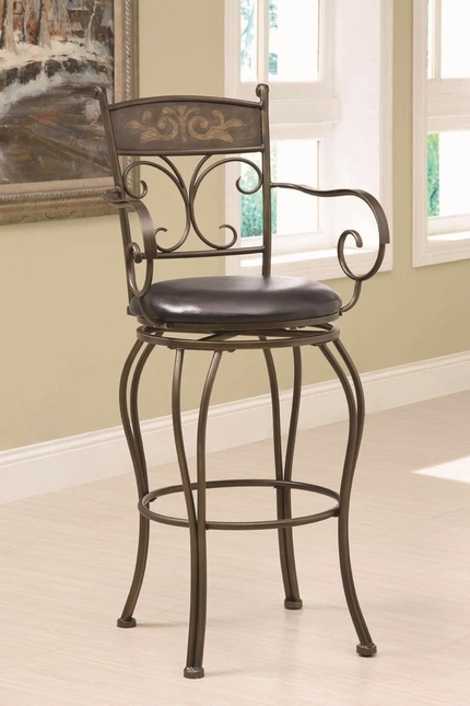 Metal Backrest Padded Seat Bar Stool with Footrest