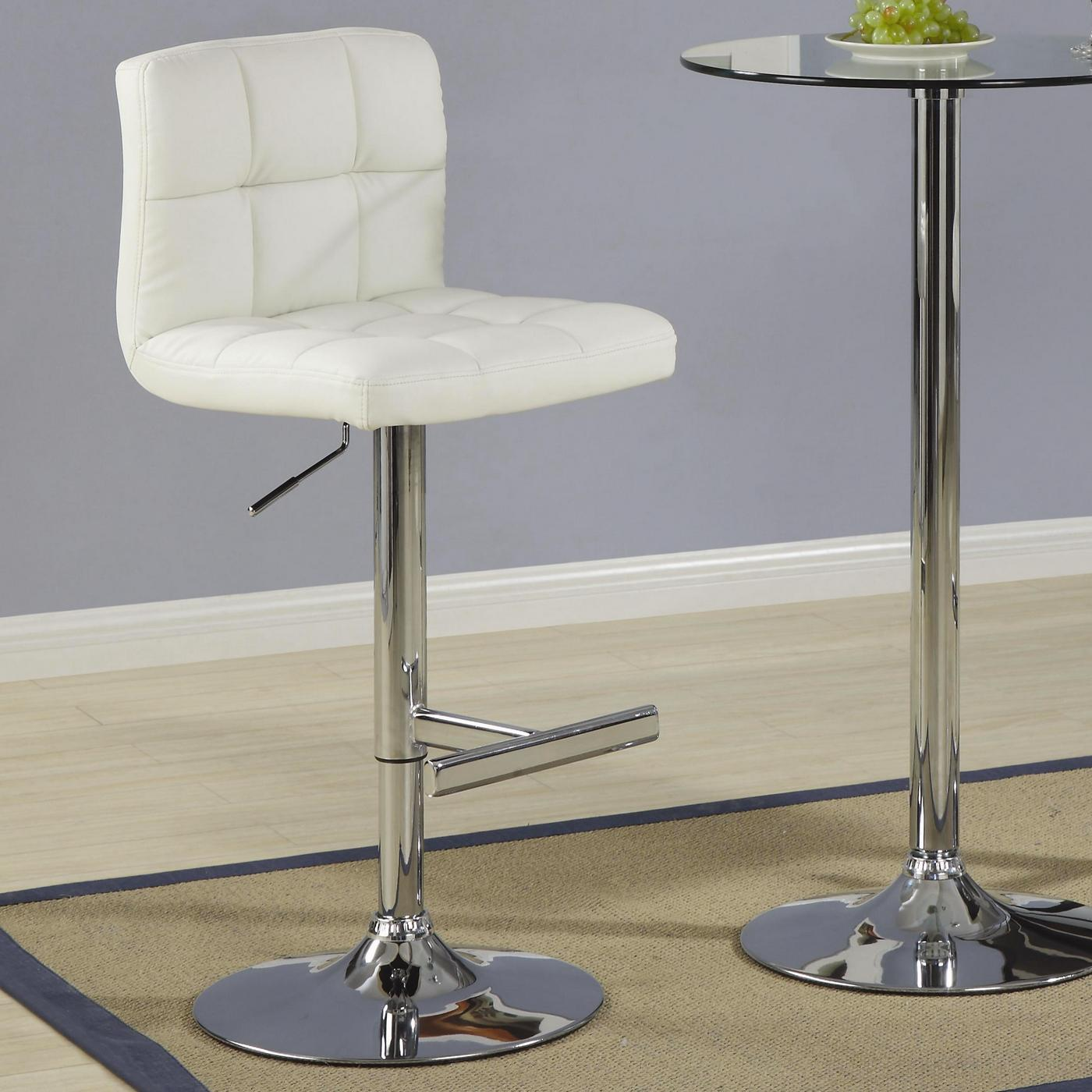 Metal Pedestal Base Set Of 2 Padded Back Chrome Finish
