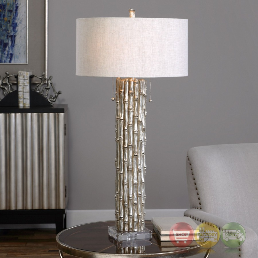 Metallic Silver Table Lamp With Textured Bamboo Like Base