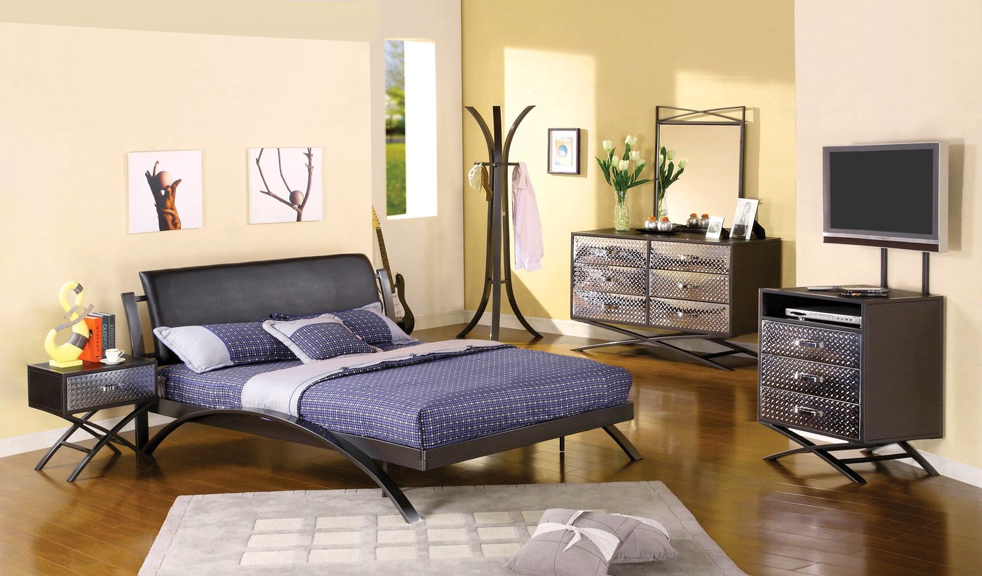 modern youth bedroom furniture metro contemporary gun metal youth bedroom set with padded 16464
