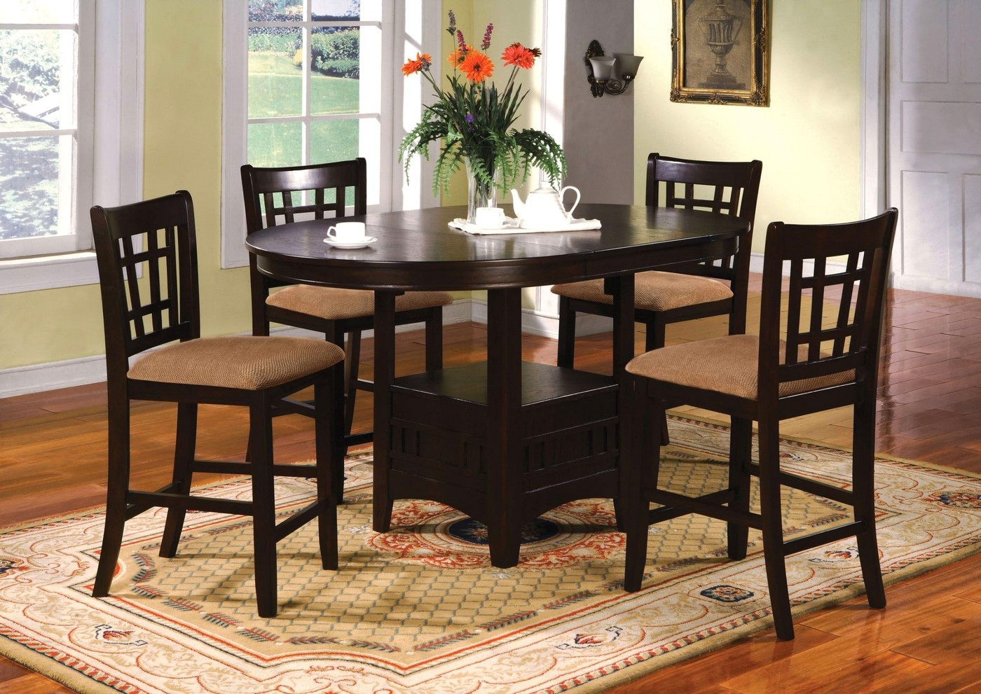 Metropolis Transitional Espresso Counter Height Dining Set