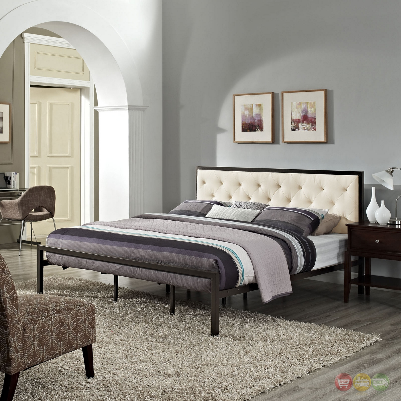 Mia Modern Solid Steel Platform Fabric Button Tufted King
