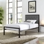 Mia Modern Solid Steel Platform Fabric Button-tufted Twin Bed, Brown Gray