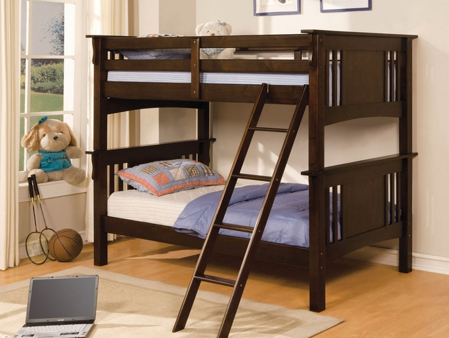 Miami I Mission Dark Walnut Bunk Bed with Angled Ladder
