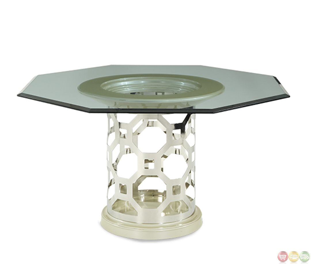 michael amini after eight pearl octagon dining table by aico