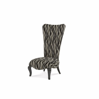 Michael Amini Beverly Blvd Black Lacquer Finish Armless Chair by AICO
