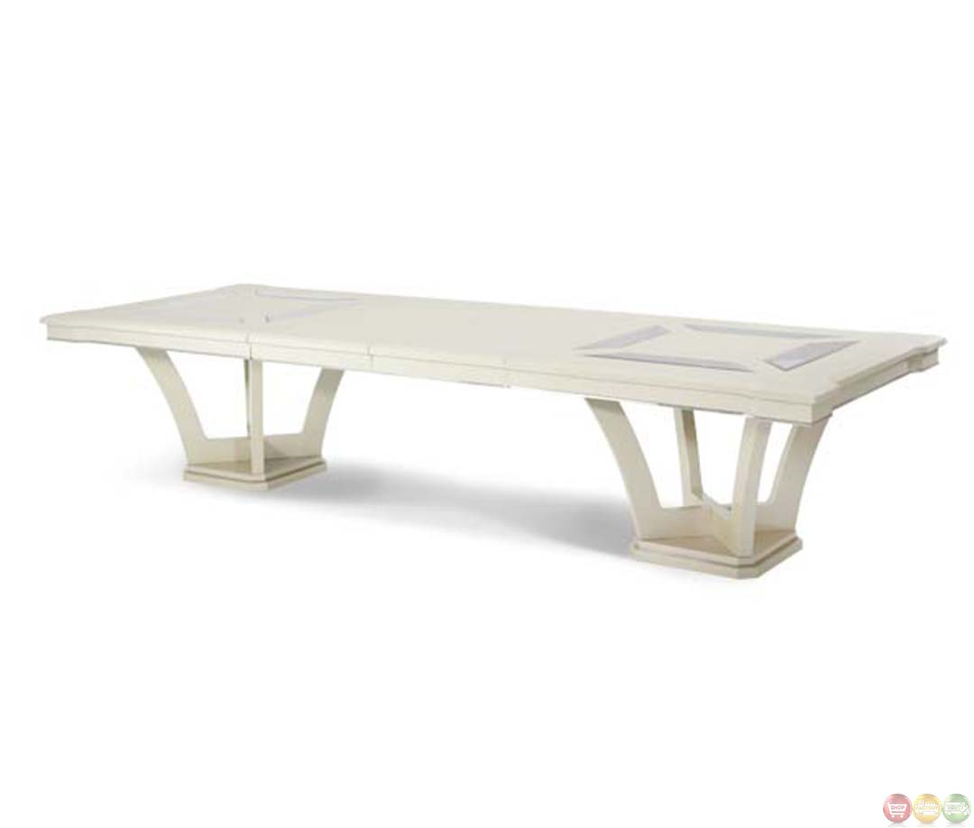 Michael amini beverly blvd contemporary rectangular dining for Contemporary rectangular dining table