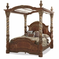 Michael Amini Villa Valencia Traditional King Canopy Bed in Classic Chestnut Finish