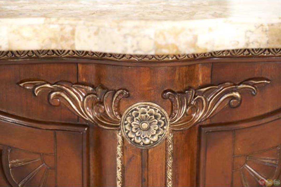Michael Amini Cortina Solid Wood Marble Top Bar With
