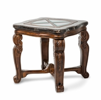 Michael Amini End Table Tuscano Melange with Wood Inlay by AICO
