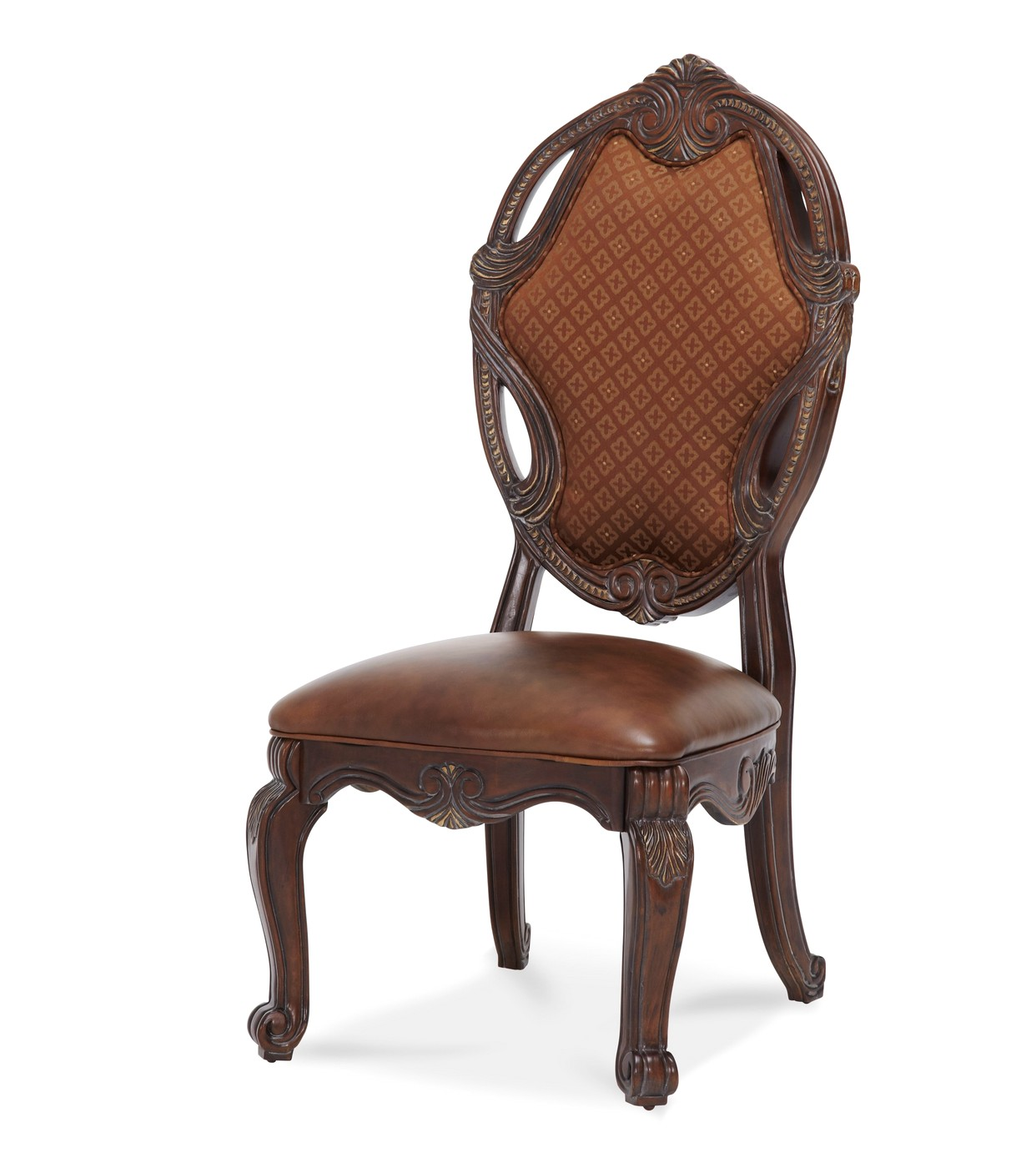 leather fabric chair michael amini essex manor traditional set of 2 leather 16627 | michael amini essex manor traditional set of 2 leather fabric side chairs by aico 35