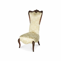 Michael Amini Imperial Court Chestnut Champagne High Back Wood Trim Chair by AICO