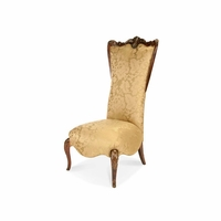Michael Amini Imperial Court Citrus Chestnut High Back Wood Trim Chair by AICO