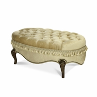 Michael Amini Imperial Court Chestnut Wood Trim Cocktail Ottoman by AICO