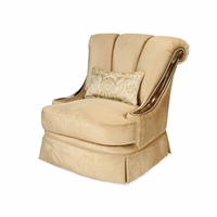 Michael Amini Imperial Court Champagne Chestnut Wood Trim Swivel Chair by AICO