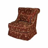 Michael Amini Imperial Court Merlot Chestnut Wood Trim Swivel Chair by AICO