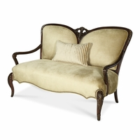 Michael Amini Imperial Court Radiant Chestnut Finish Wood Trim Settee by AICO