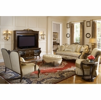 Michael Amini Imperial Court Radiant Chestnut Finish Wood Trim Sofa Set by AICO