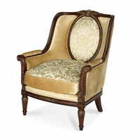 Michael Amini Imperial Court Radiant Chestnut Wood Trim Chair by AICO
