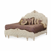 Michael Amini Lavelle Blanc Button Tufted Queen Mansion Wing Bed AICO
