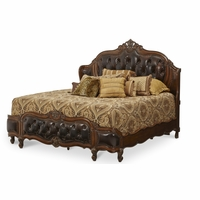 Michael Amini Lavelle Leather Tufted California King Mansion Wing Bed by AICO