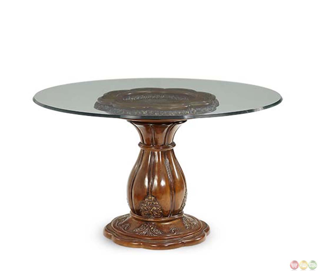 Michael amini lavelle melange 54 inch round glass top Glass dining table
