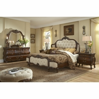Michael Amini Lavelle Melange French Luxury Tufted Leather Bed Set
