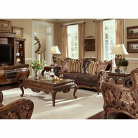 Michael Amini Lavelle Melange Leather & Fabric Wood Trim Sofa Set AICO