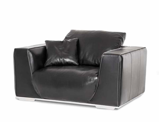 Black Leather Chair And A Half