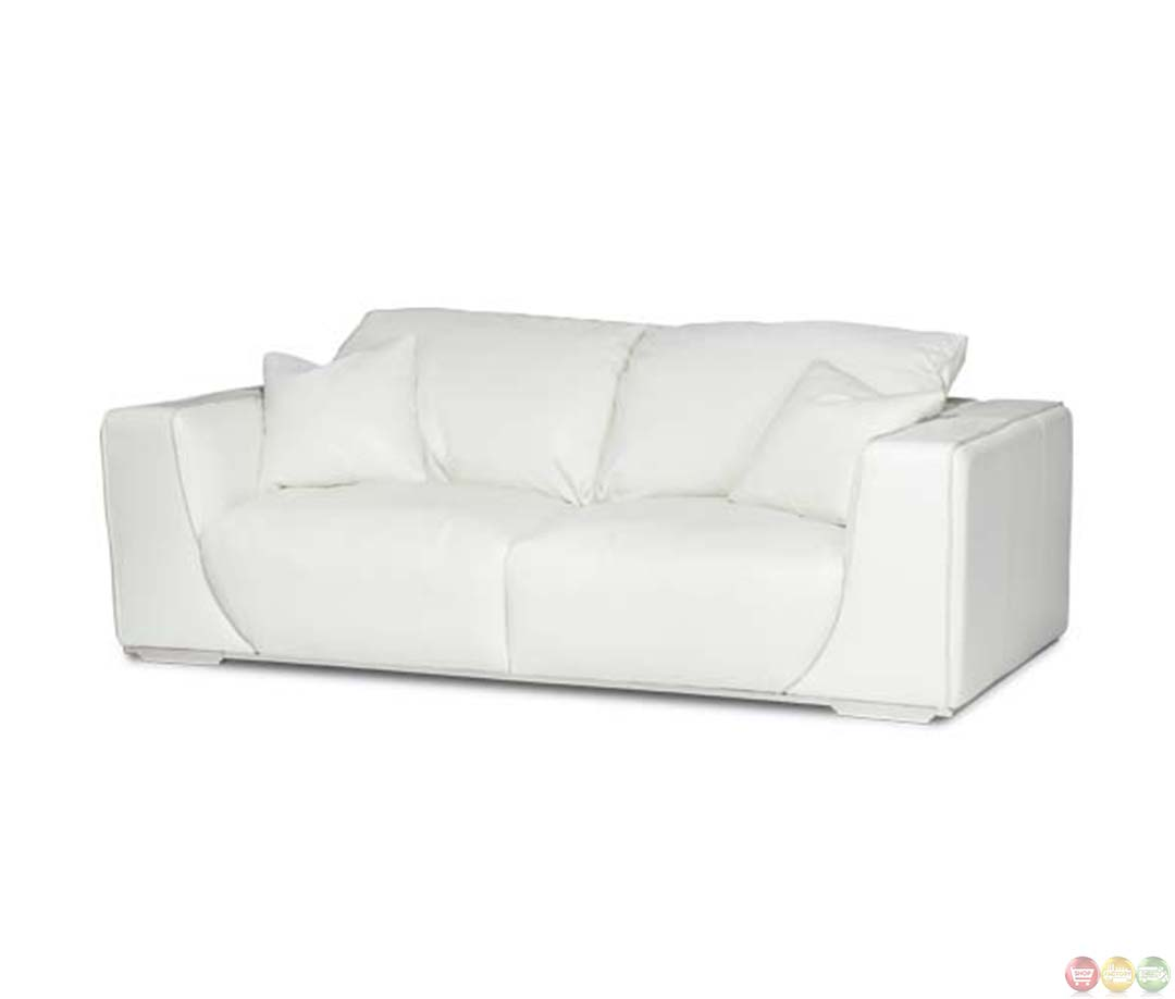 Michael Amini Mia Bella Sophia White Leather Modern Luxury Sofa By Aico