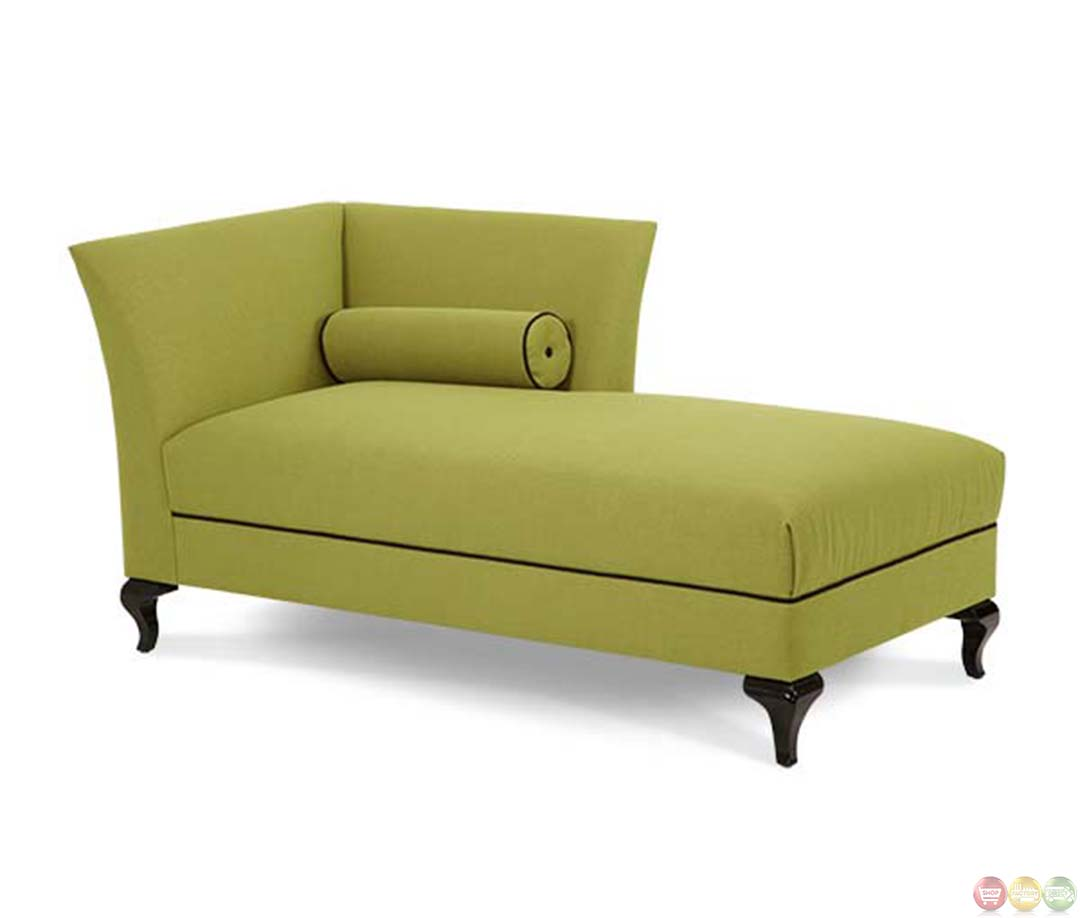 Michael amini after eight green fabric upholstered chaise for Aico trevi chaise
