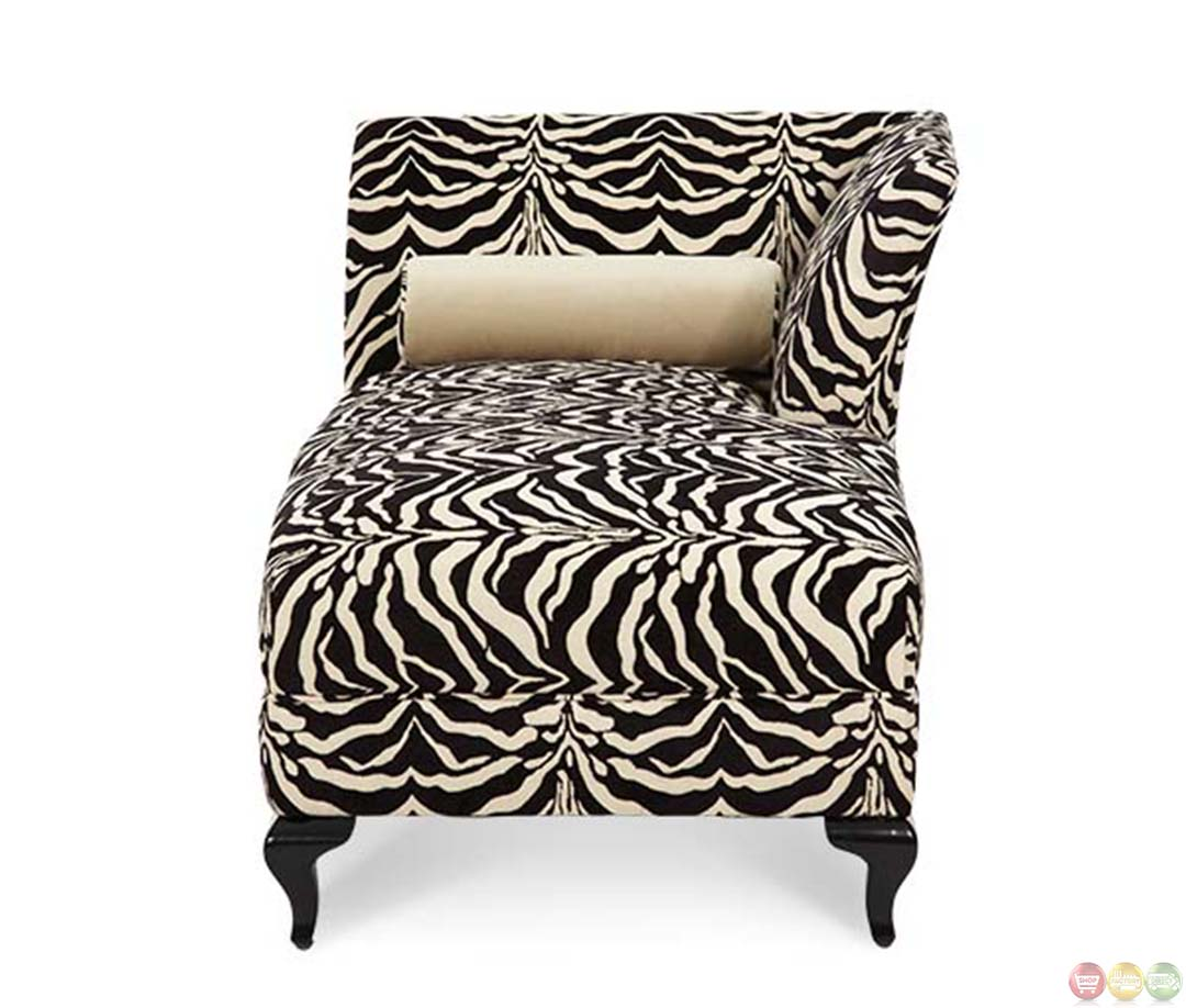 Michael amini after eight tiger pattern black onyx chaise for Aico chaise lounge