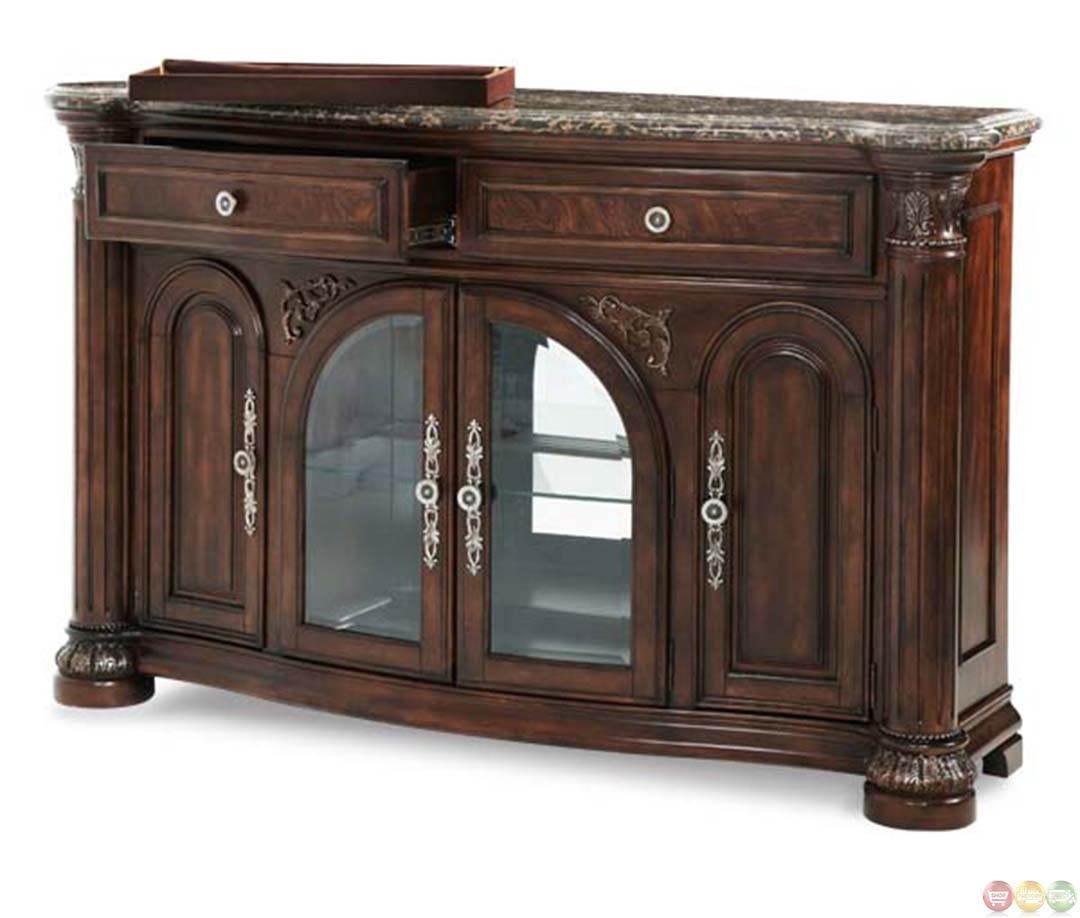 Michael Amini Monte Carlo Ii Cafe Noir Finish Traditional Sideboard By Aico