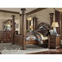Michael Amini Monte Carlo II Cafe Noir Poster Canopy Bed Traditional Luxury Bedroom Set