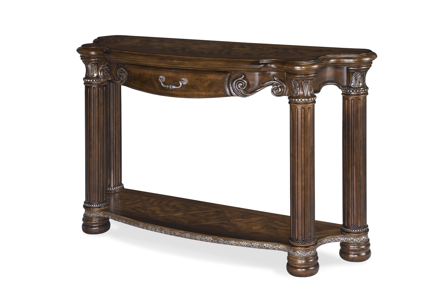 michael amini monte carlo ii cafe noir traditional console table by aico. Black Bedroom Furniture Sets. Home Design Ideas