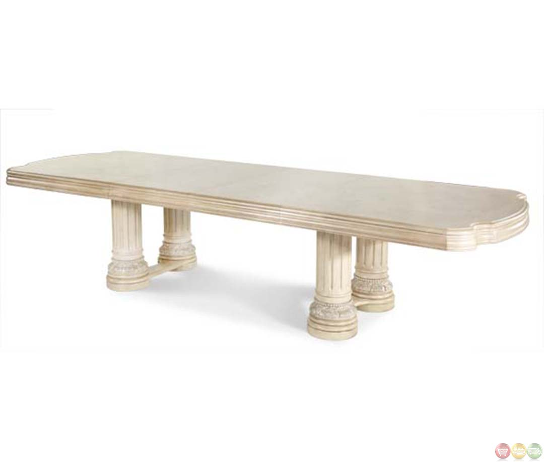 Michael amini monte carlo ii silver pearl rectangular dining table by aico - Silver dining tables ...