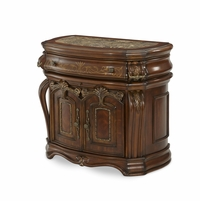 Michael Amini Oppulente Mahogany Veneers Sienna Spice Bedside Chest by AICO