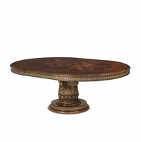 "Michael Amini Villa Valencia Traditional Round 60""-84"" Dining Table in Classic Chestnut"