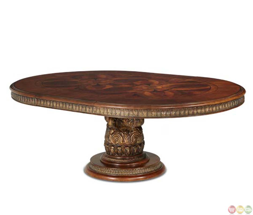 Michael amini round oval dining table villa valencia for Traditional dining table
