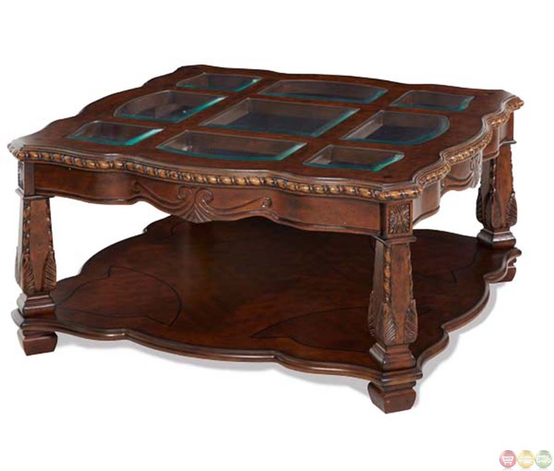 Michael Amini Square Traditional Style Windsor Court Cocktail Table By Aico