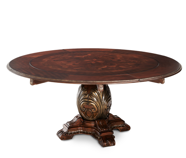 Michael amini the sovereign soft mink traditional round for Traditional round dining table sets