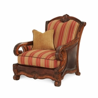 Michael Amini Tuscano Biscotti Traditional Wood Trim Leather & Fabric Chair by AICO