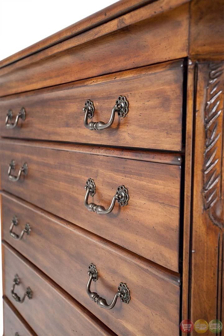 Michael Amini Tuscano Melange Leaf Carving 6 Drawer Chest