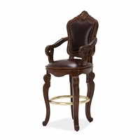 Michael Amini Tuscano Melange Traditional Wood Leather Swivel Barstool by AICO