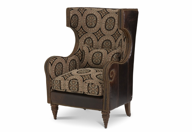 Michael Amini Victoria Palace Leather And Fabric Wing Accent Chair By AICO