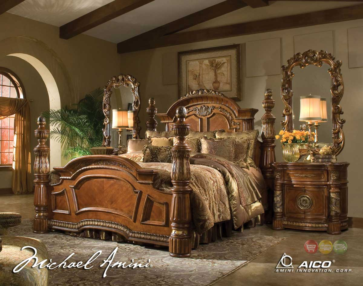 michael amini villa valencia 4 poster king bedroom set. Black Bedroom Furniture Sets. Home Design Ideas