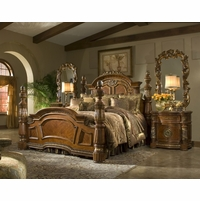Michael Amini Villa Valencia 4pc Poster King Bedroom Set in Classic Chestnut Finish